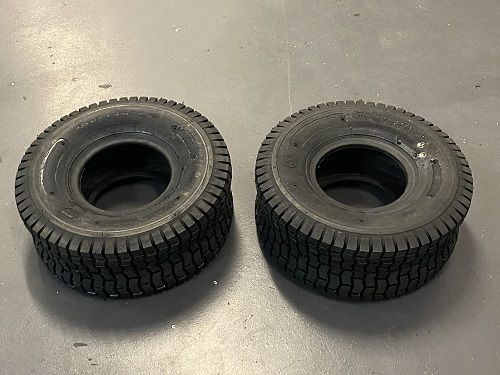 2 x COMMERCIAL TURF SAVER TUBELESS TYRES 13 x 5 x 6.00 FOR RIDE ON MOWERS