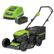 "GREENWORKS 40V 18"" BRUSHLESS STEEL DECK LAWNMOWER CORDLESS KIT 4.0Ah BATTERY"