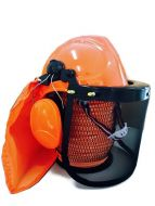 Chainsaw brushcutter NEW STYLE! safety helmet mesh visor earmuffs & SUN FLAP